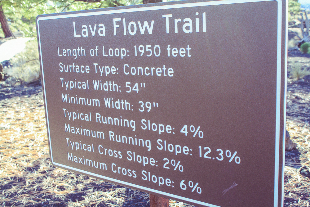 The Lava Flow Trail has a few off-shoots, one of which we took and got lost on!