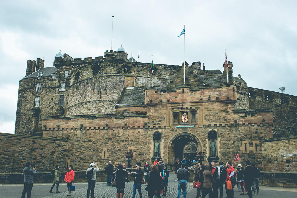 Approaching Edinburgh Castle.