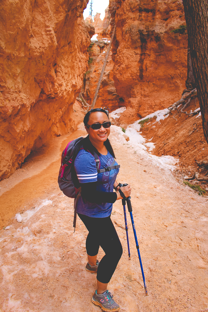 The trekking poles ended up being a  BIG  help on the icy trail.