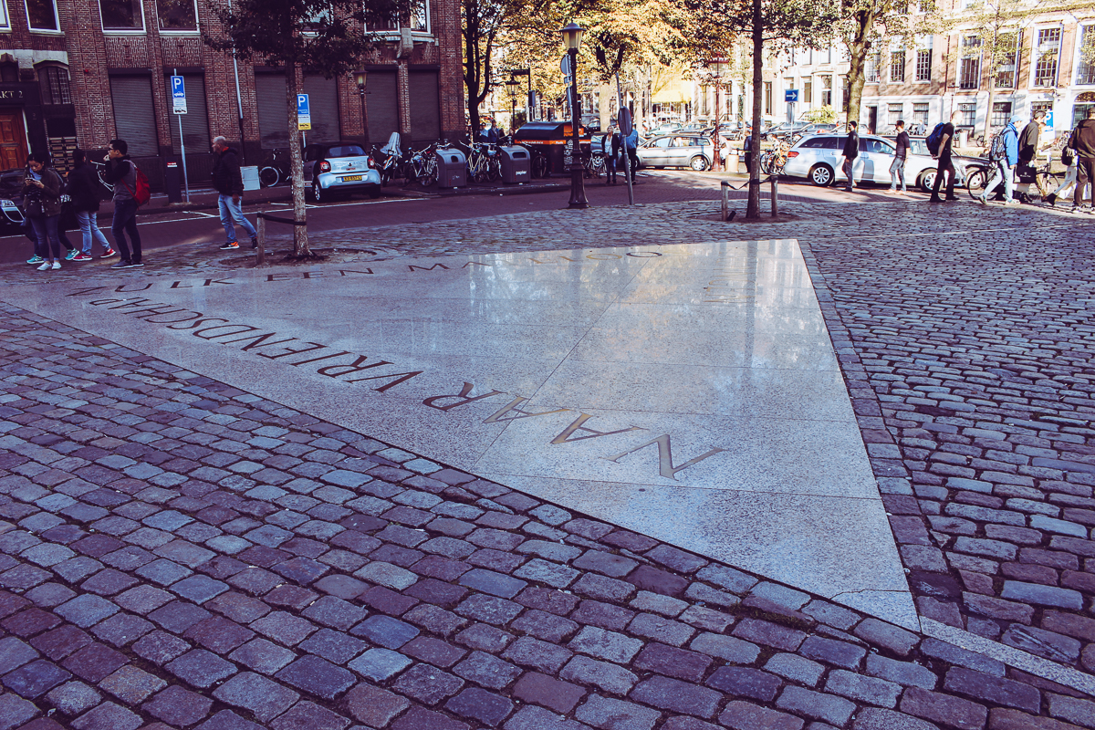 One corner of the  Homomonument , the first memorial to the gays and lesbians killed by the Nazis.