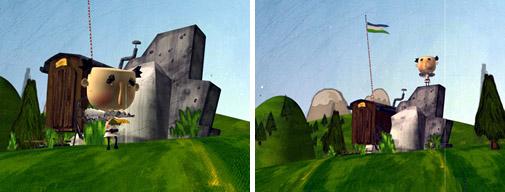 Dui fotograms fora dl dessëgn animé realisé da Harald Pizzinini de Badia sön inciaria dla Uniun di Ladins dla Val Badia.