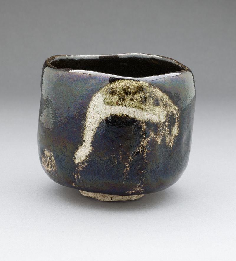 Raku IX Tea Bowl made with aged pine with Crane Design (1810-1838).