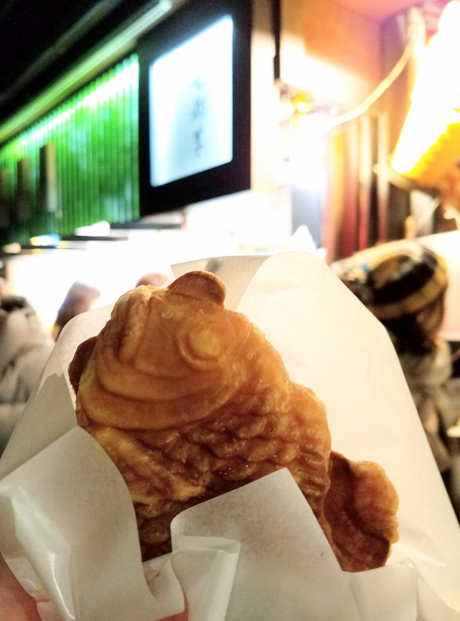 Taiyaki, a  tai  fish-shaped waffle typically filled with sweet bean paste, chocolate, custard or matcha filling. ©TOKI