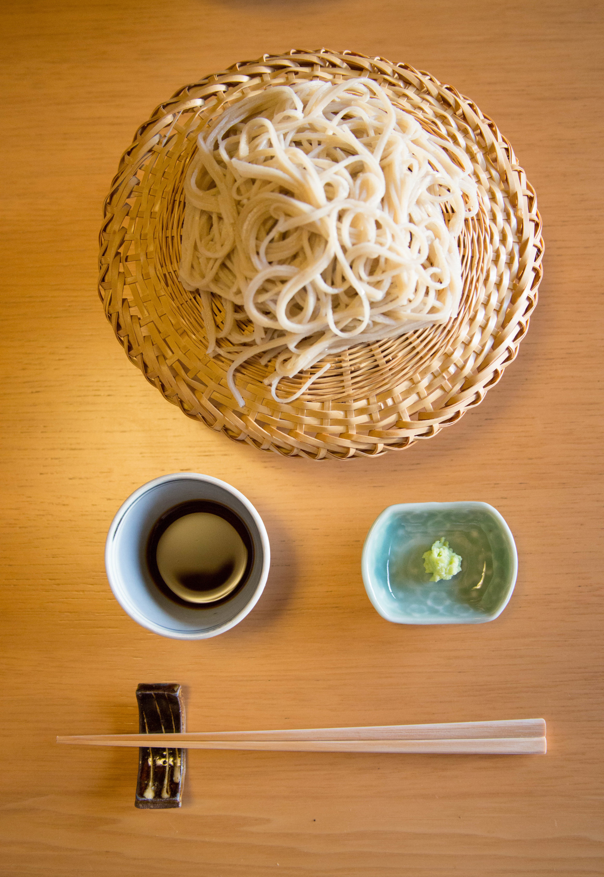 Wasabi (green paste) is commonly served with soba noodles (Japanese buckwheat noodles). ©TOKI