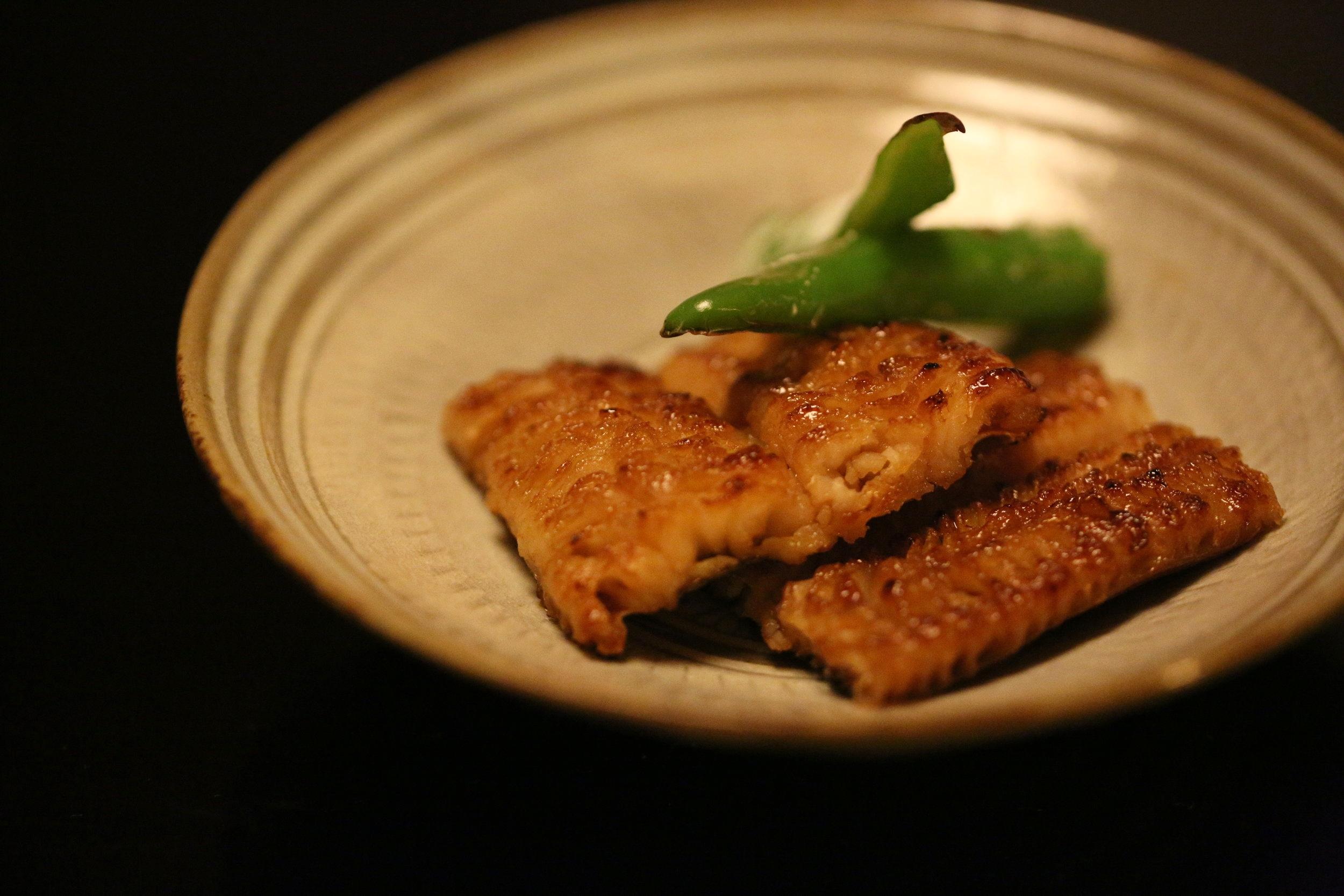An eel dish, part of multi-course meal,  kaiseki ryori . ©TOKI