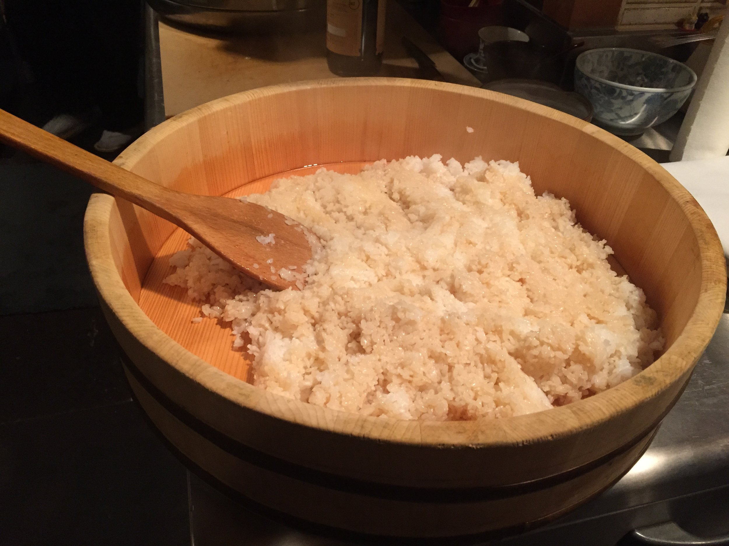Rice used to make sushi is prepared by mixing the rice with vinegar. ©TOKI