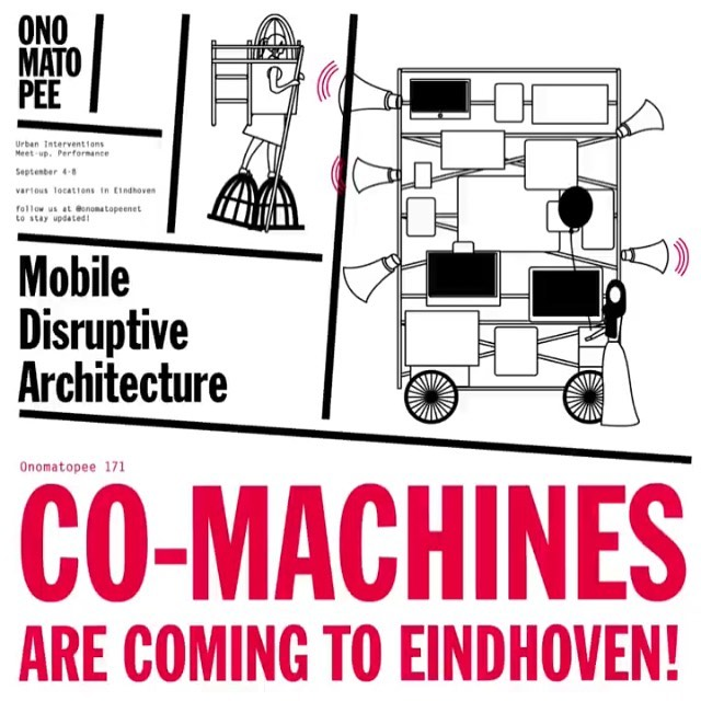 This friday the Eindhoven gallery/publisher @onomatopeenet will host 'Co-machines: Mobile Disruptive Architecture', an interesting event about self-initiated interventions in public space: 'Co-machines' maps out a new architectural movement motivated by practices of place-making, occupying and squatting, and alternative economies. It shows the life of the alternative, grassroots and DIY with an independent spirit. Niels will be interviewing one of the 4 participating artists. Come join the discussion on friday evening or check out the physical interventions this weekend.
