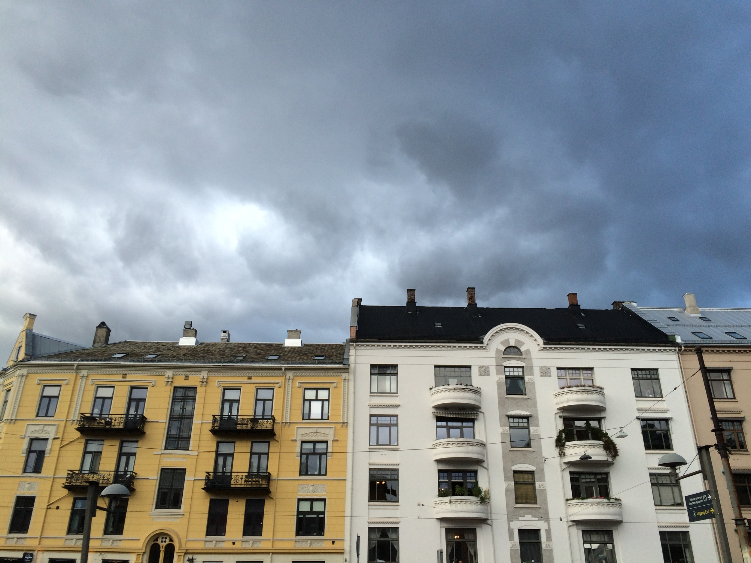 Oslo city architecture and clouds - I was out with bass at this time, and got soaked trying to get home