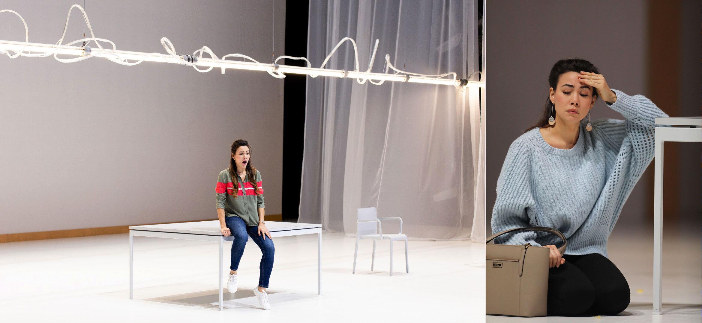 Winnie in  Sky On Swings , Opera Philadelphia | Direction: Joanna Settle | Stage: Andrew Lieberman | Costumes: Tilly Grimes | Photo 1: Dominic M. Mercier | Photo 2: David Swanson