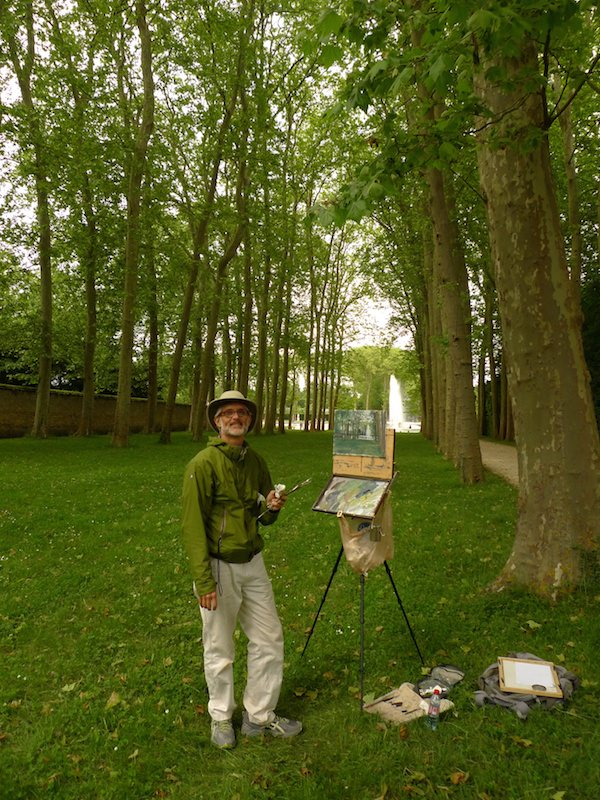 Painting in the gardens of the Versailles Palace.