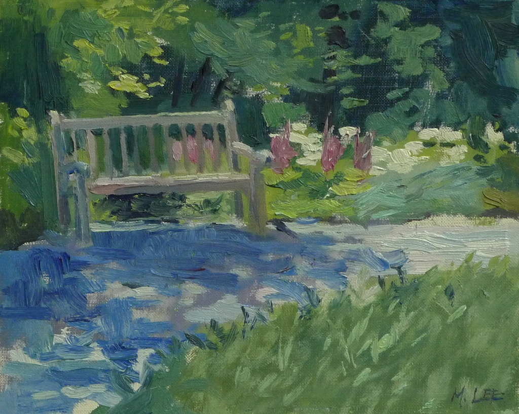 Lonely Bench in Summer- Dixon Gardens  I paint often at the Dixon Gardens. I love the blue shadows across the light colored gravel, and lush summer greens. This bench is waiting for you to sit and enjoy the garden.