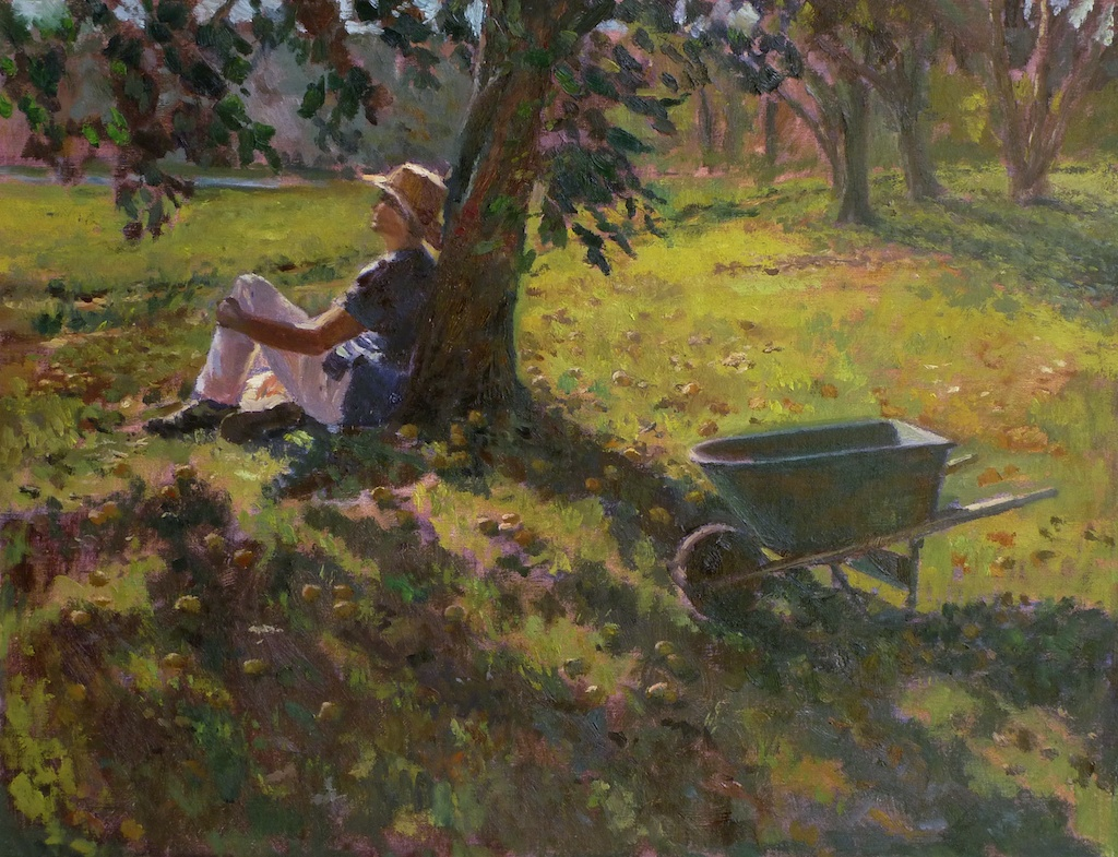 "Self Portrait Under a Pear Tree  I began this scene with a smaller ""plein air"" or on location painting.  I then developed it into a larger study and added myself into the scene later."
