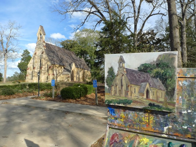 Chapel of the Cross, Madison, MS.  Plein Air painting in progress.  11 x 14 in. oil. Matthew Lee.