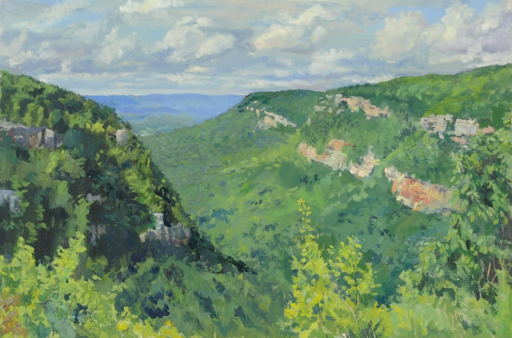 "Matthew Lee- ""Cloudland Canyon Overlook, Ga"" 24 x 36 in. oil.  This was created ""en plein air""- over several days, at the same time each day."
