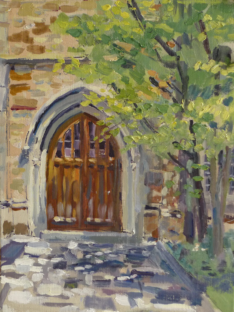 "Matthew Lee- ""The Magic Door at Idlewild""  9 x 12 Oil.    Idlewild and Rhodes College are made from the same stone quarry. I love the robustness of this old door, it tells of a different time and place, who knows what you will find beyond it?"