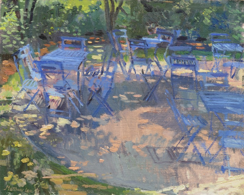 Blue Chairs in Dappled Light- Dixon Gardens, Memphis.  16x20 inches, oil.