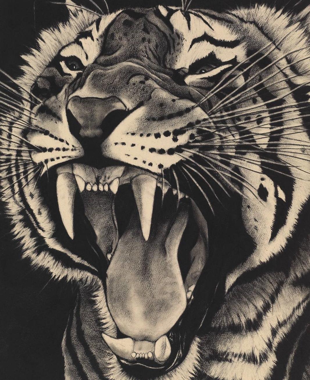 16. SNARLING TIGER ON BLACK