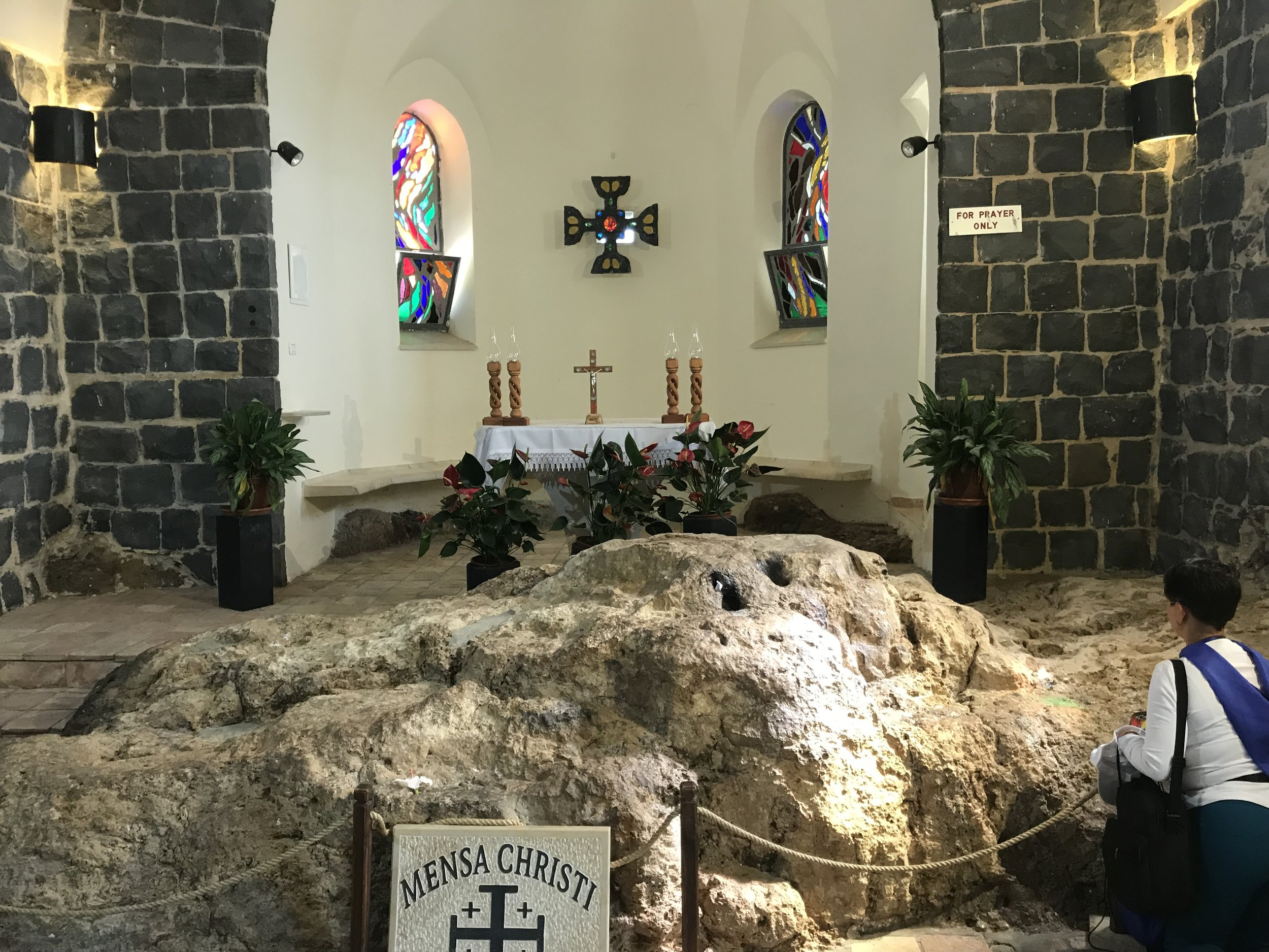 The rock where Jesus prepared the fish for the Disciples