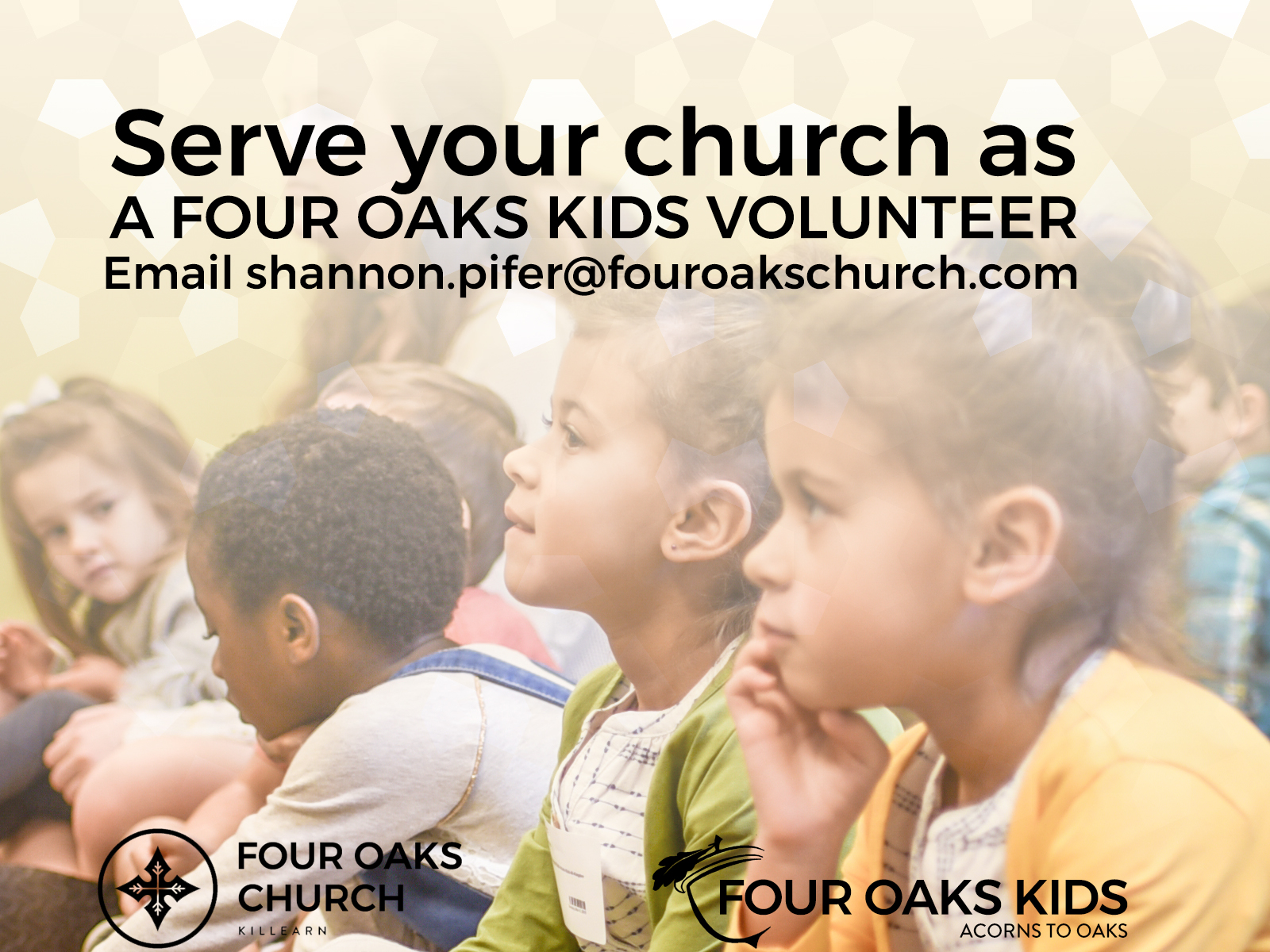 Sunday Volunteers Needed in Four Oaks Kids