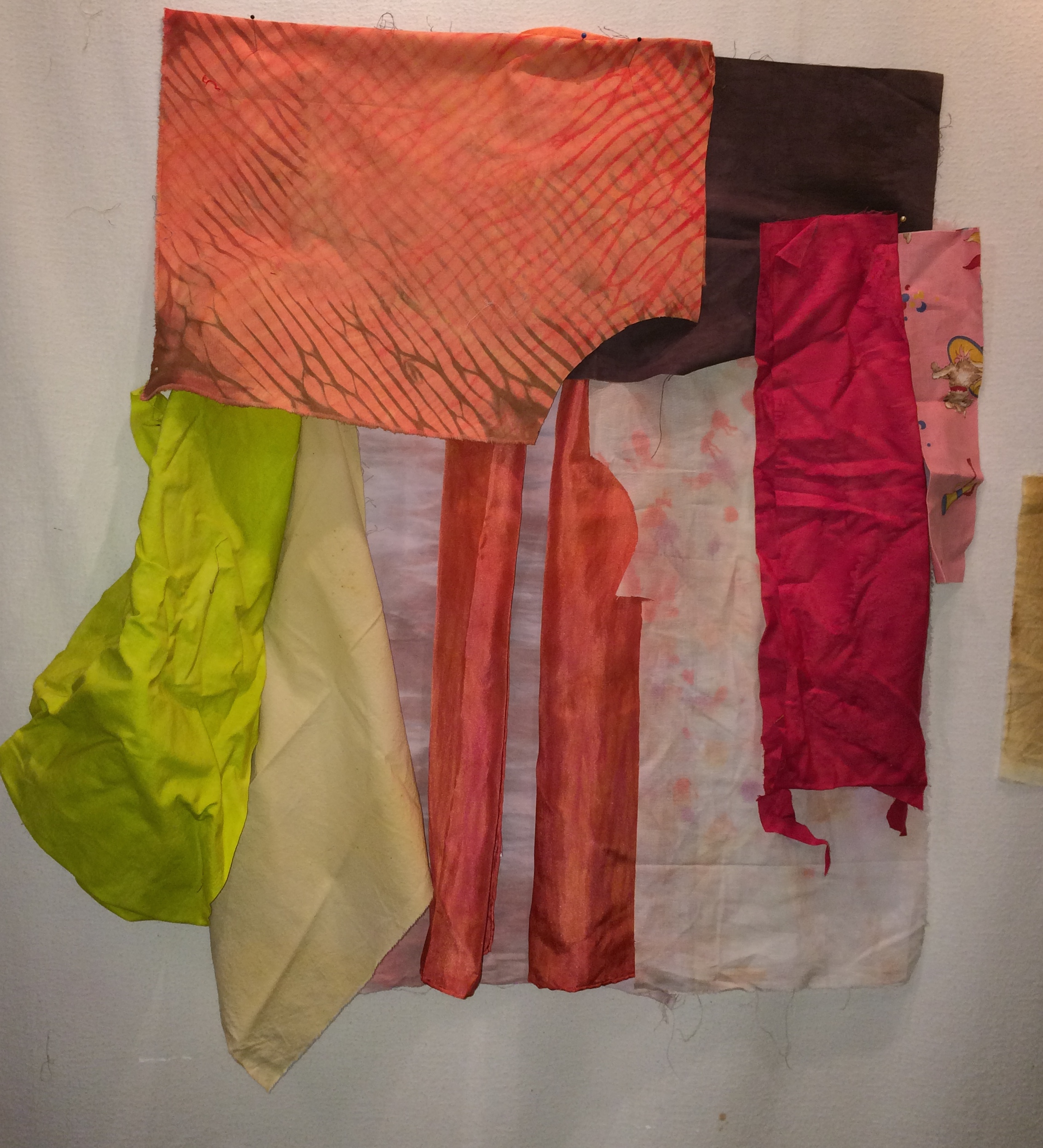 """Auditioning fabrics on the design wall for the new work. Not all of these fabrics will """"make the cut""""."""
