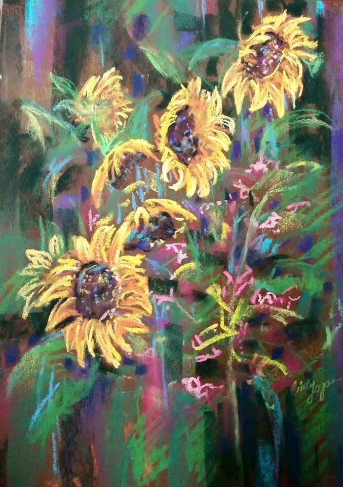 Sunflowers by Cindy Logan.  This piece was awarded an Honorable Mention.