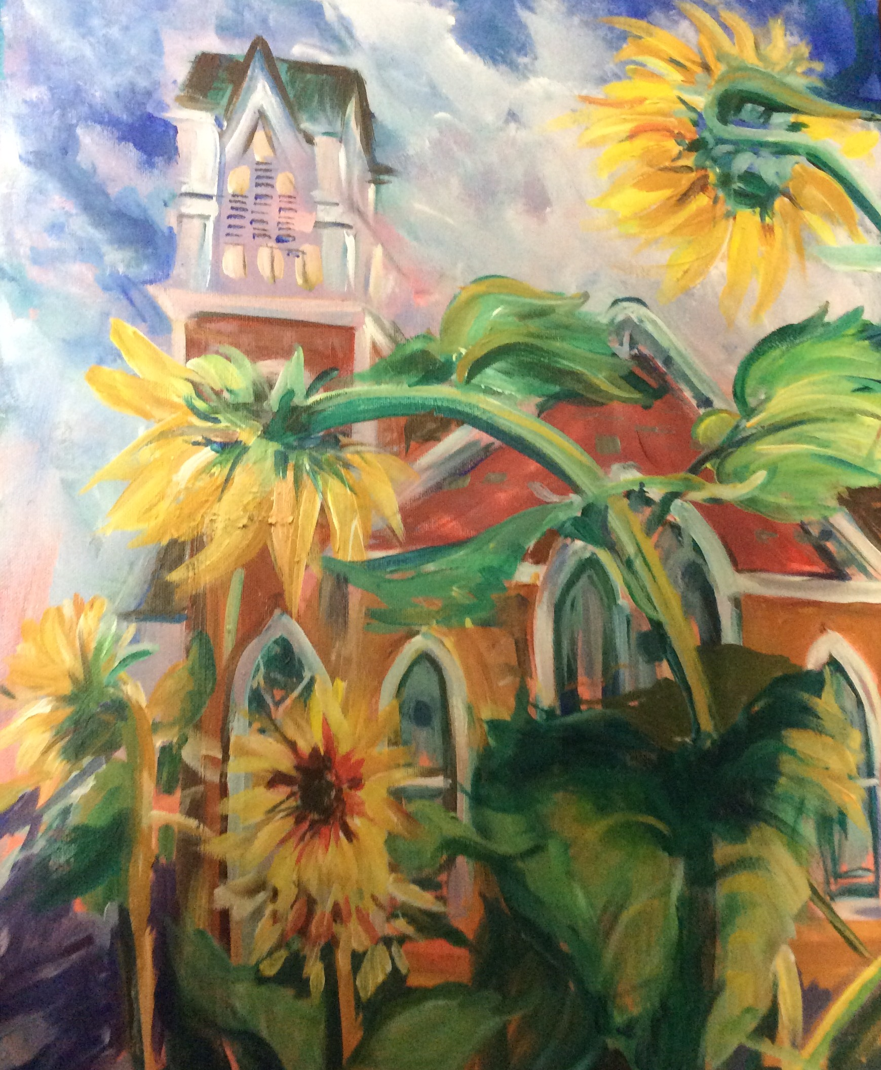 Sunflowers by Debra Scoggin Myers.  This received a Third Place Award.