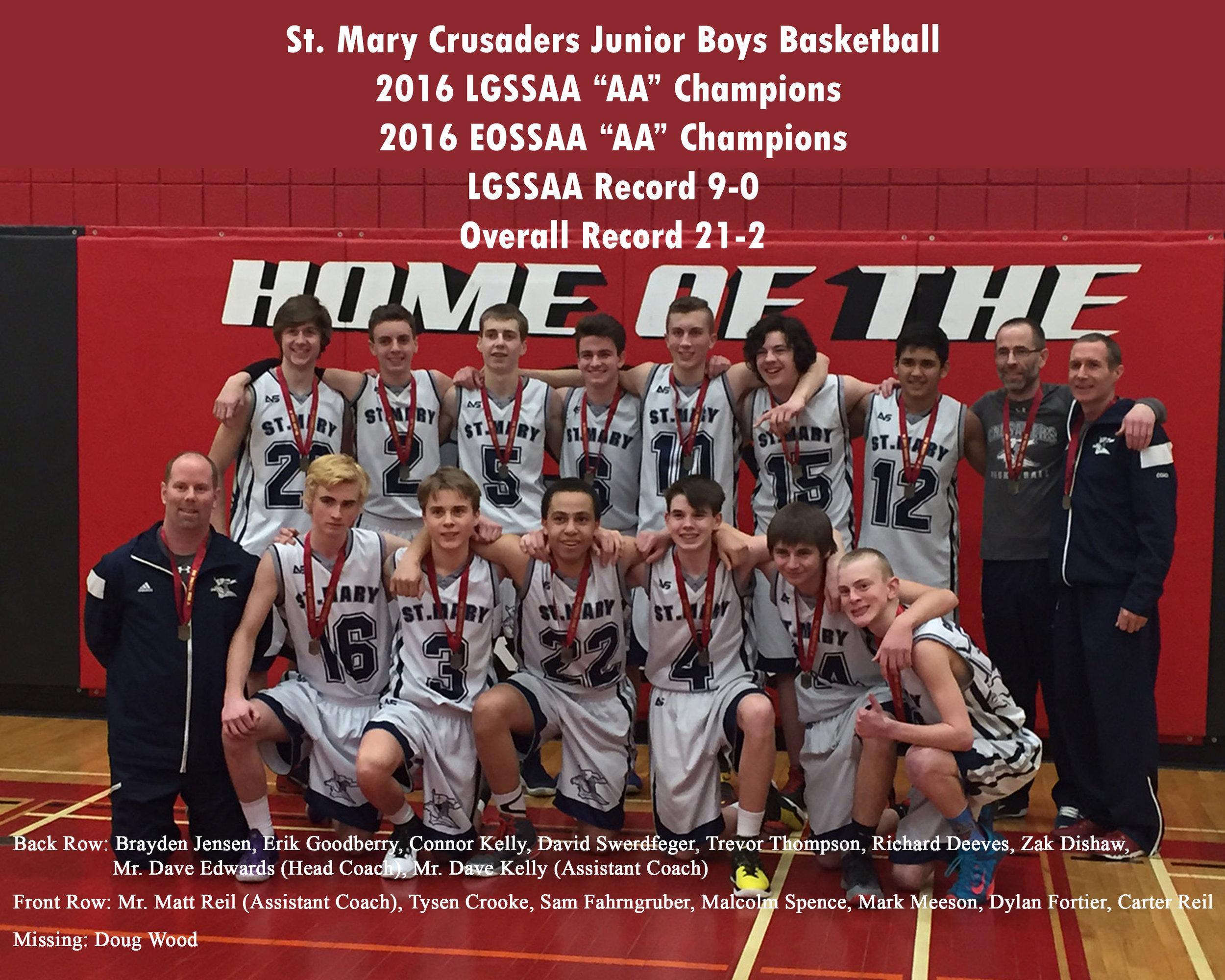 St. Mary Jr Bball 15-16