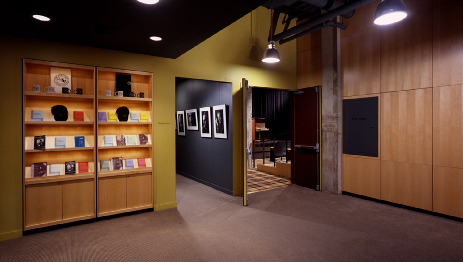 Lobby with view of bookcase and access to theater