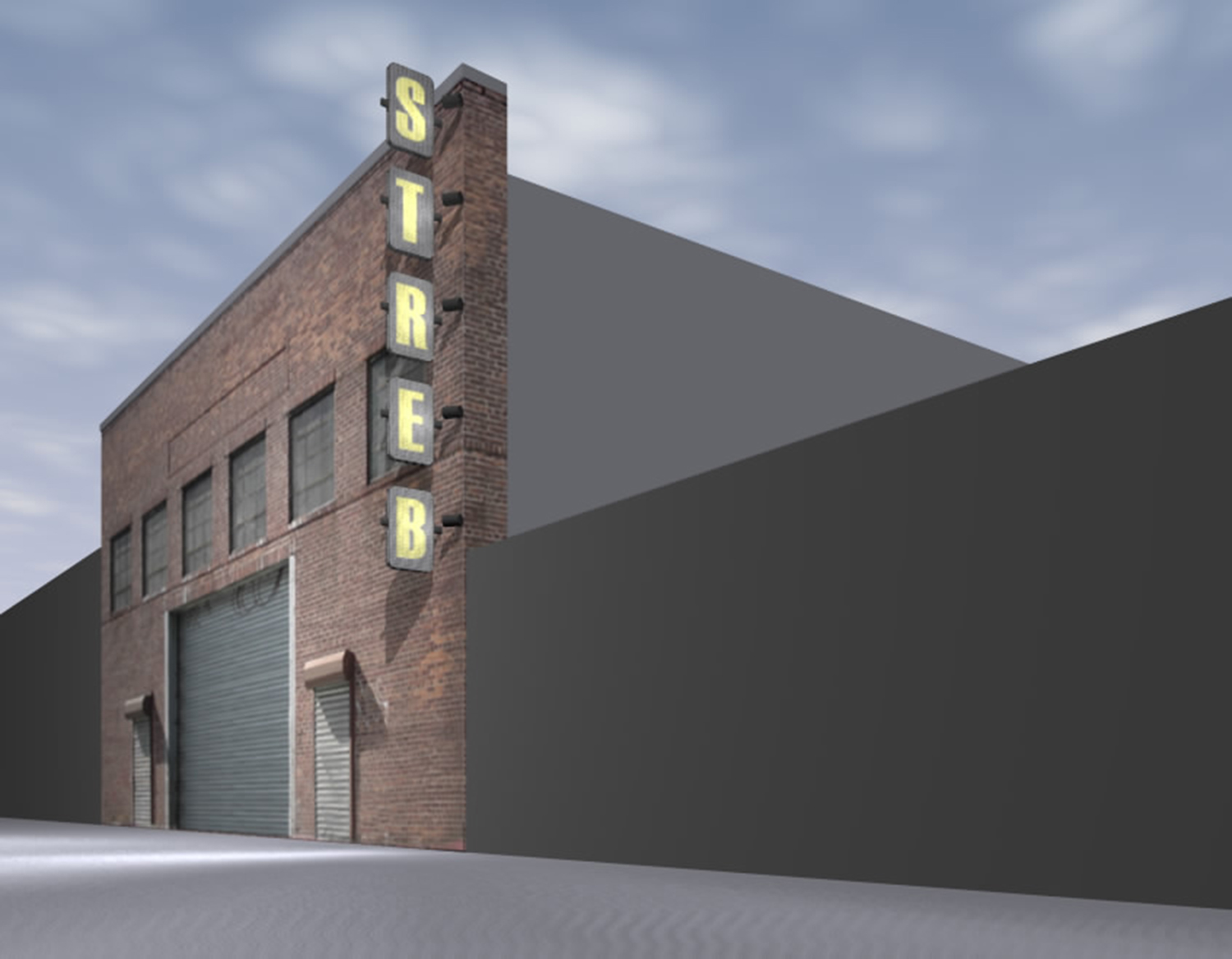 Rendering of exterior sign