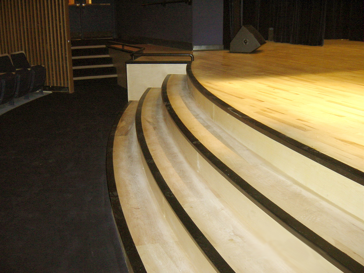 View of steps at stage apron