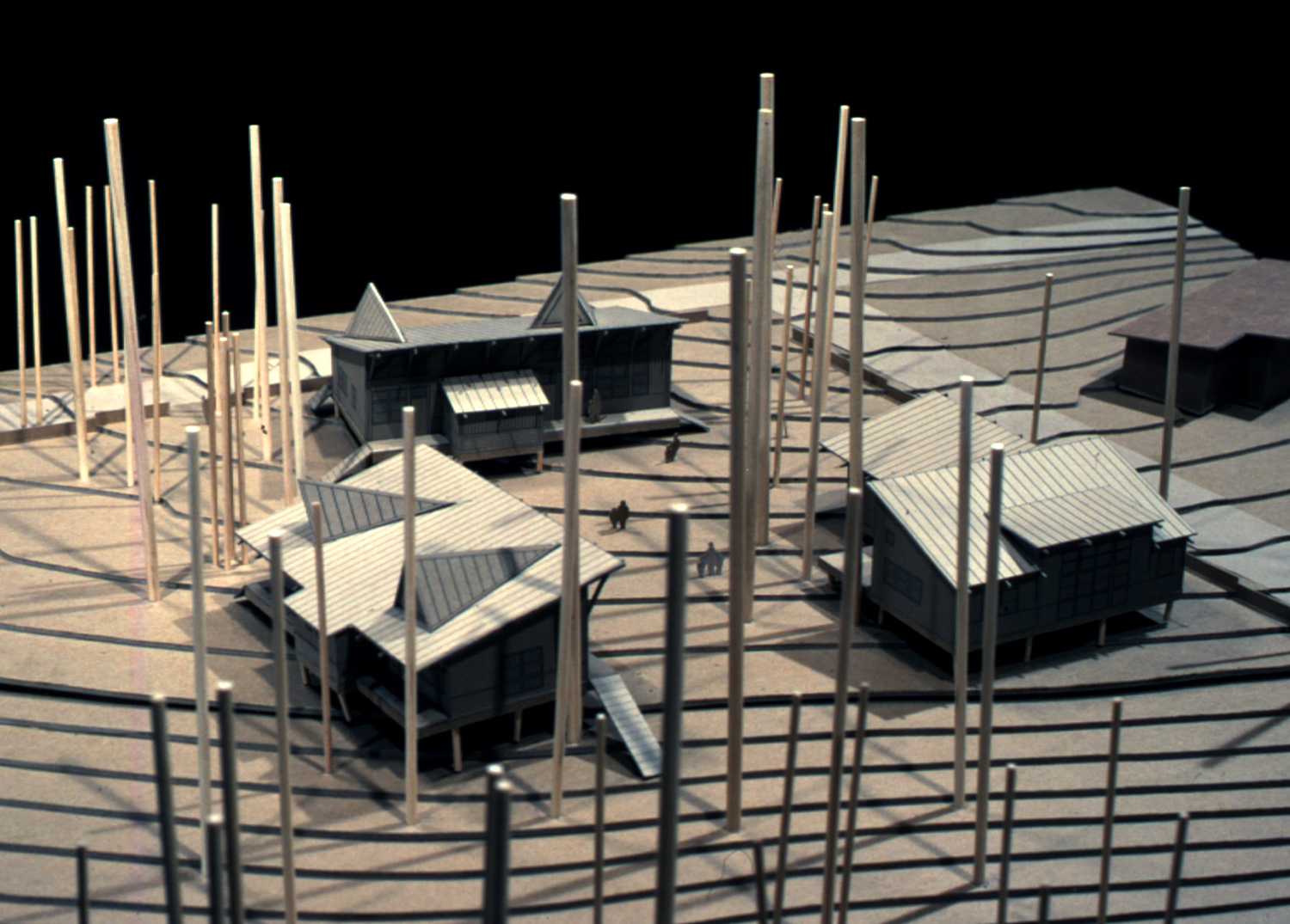 Site model, clockwise from top: Ceramics Building; Nature Building; Painting Building