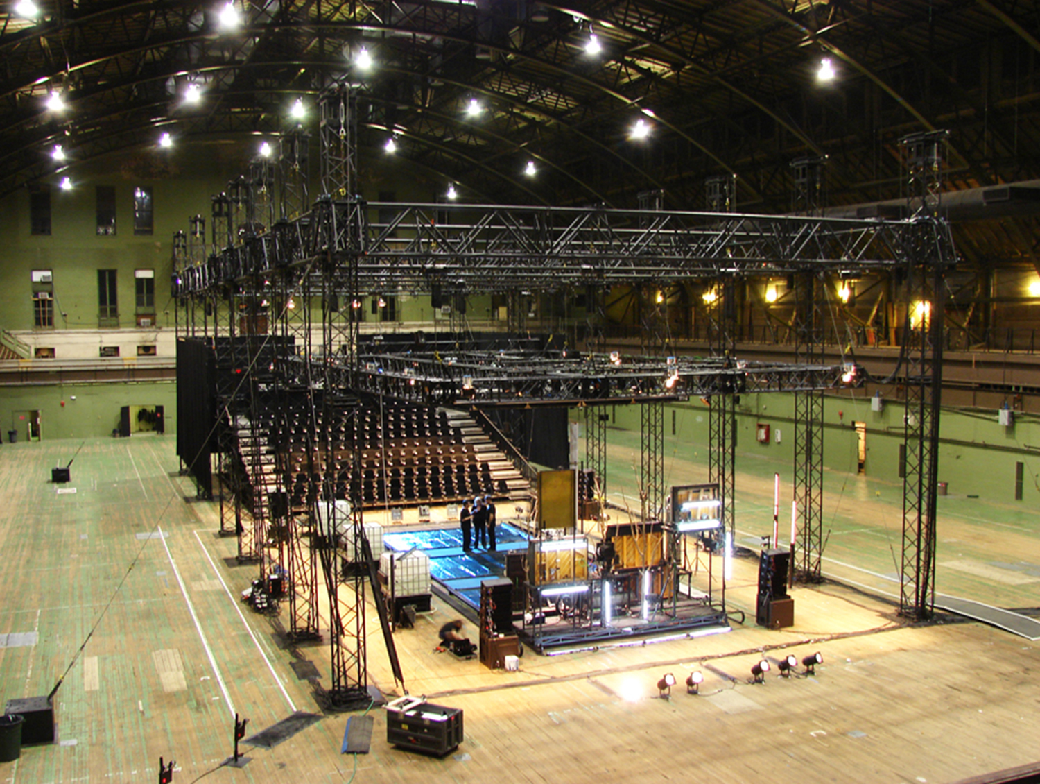 View of stage, seating and trusses