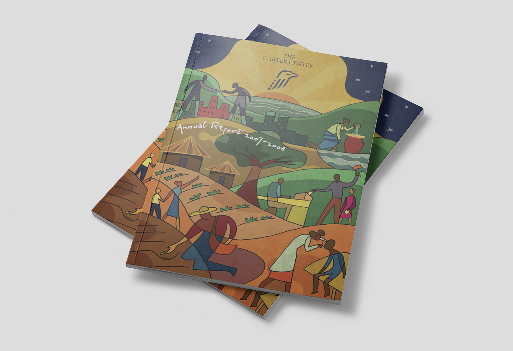 Final illustration as seen on The Carter Center Annual Report 2007 - 2008 publication.