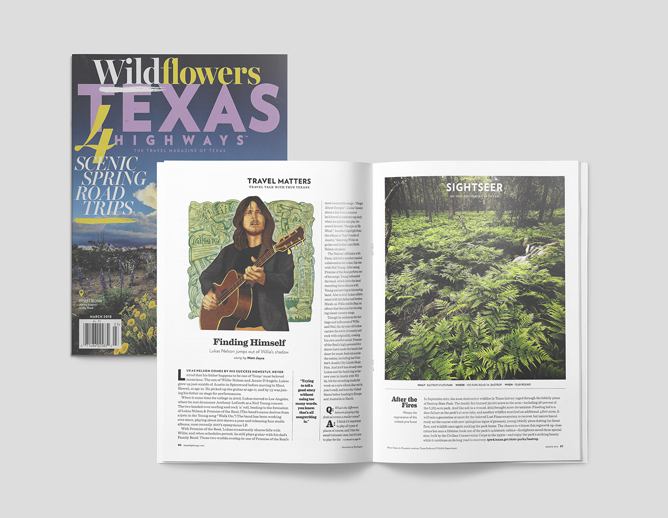 FINAL ILLUSTRATION OF LUKAS NELSON EDITORIAL PORTRAITURE AS APPEARED IN TEXAS HIGHWAYS'PUBLICATION.