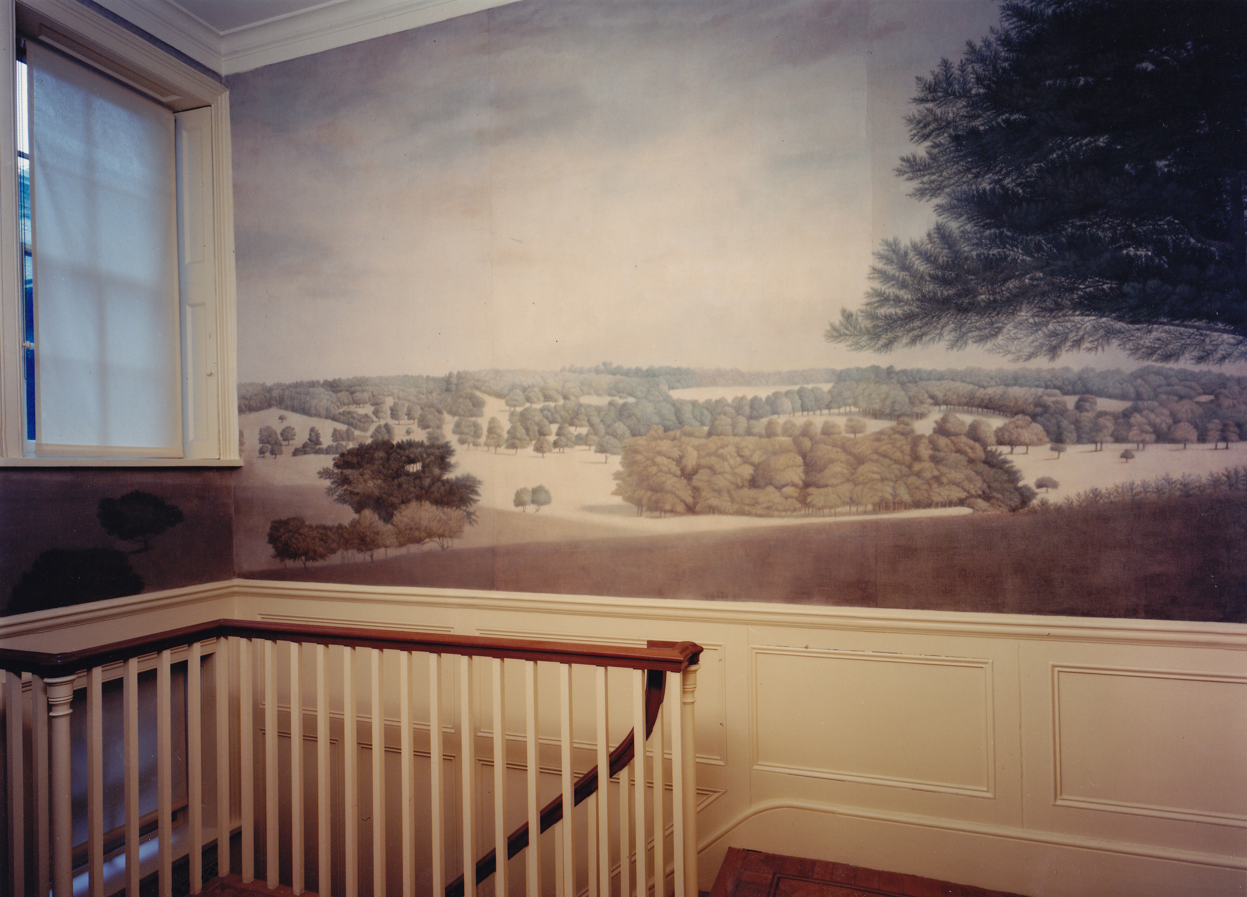 A scenic mural based on a watercolour by Paul Sandby. The Albany, Piccadilly. Distemper on canvas