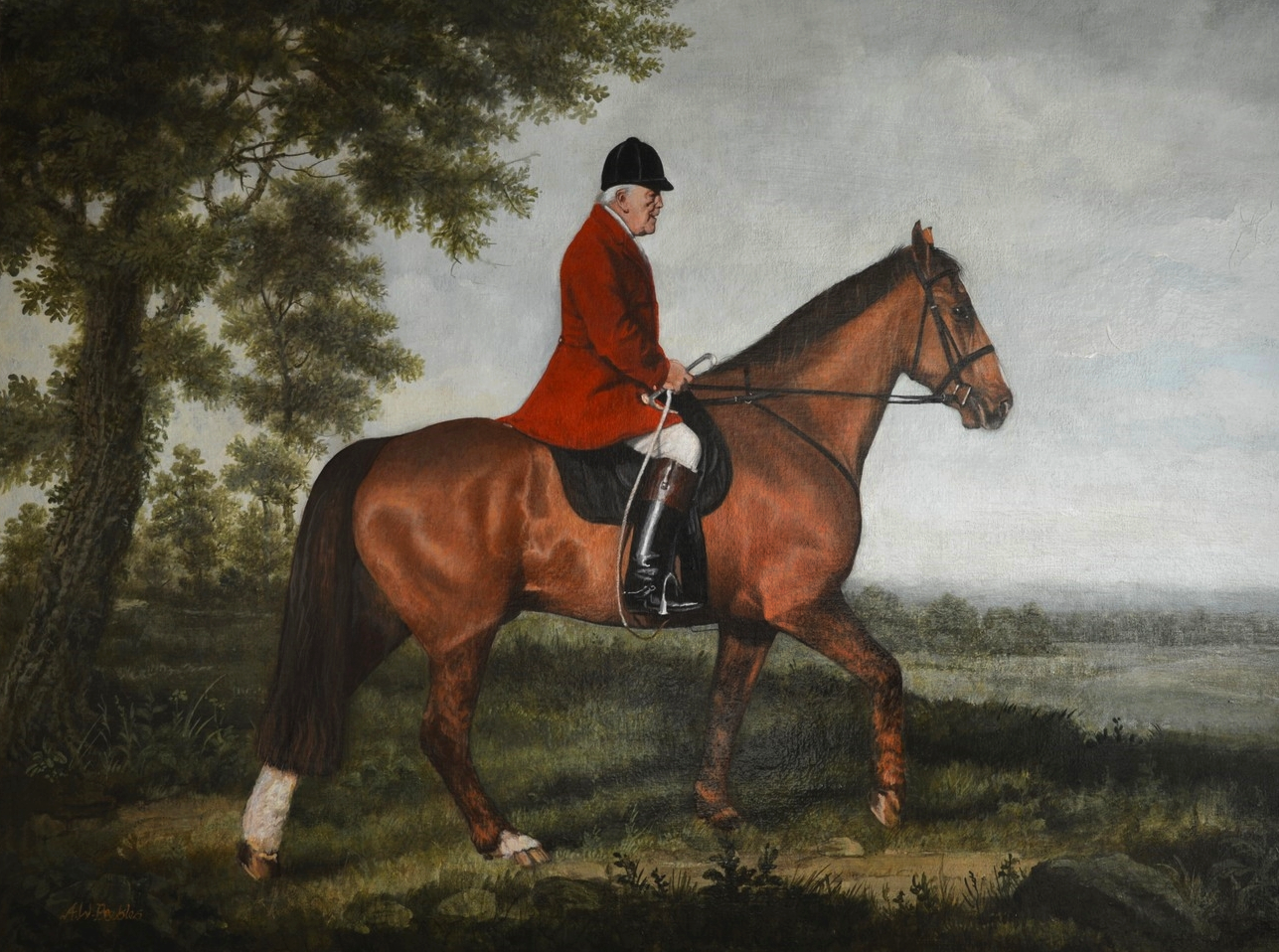 Gentleman in Hunting Pink on horseback in '18th Century' style landscape. Acrylic on canvas.