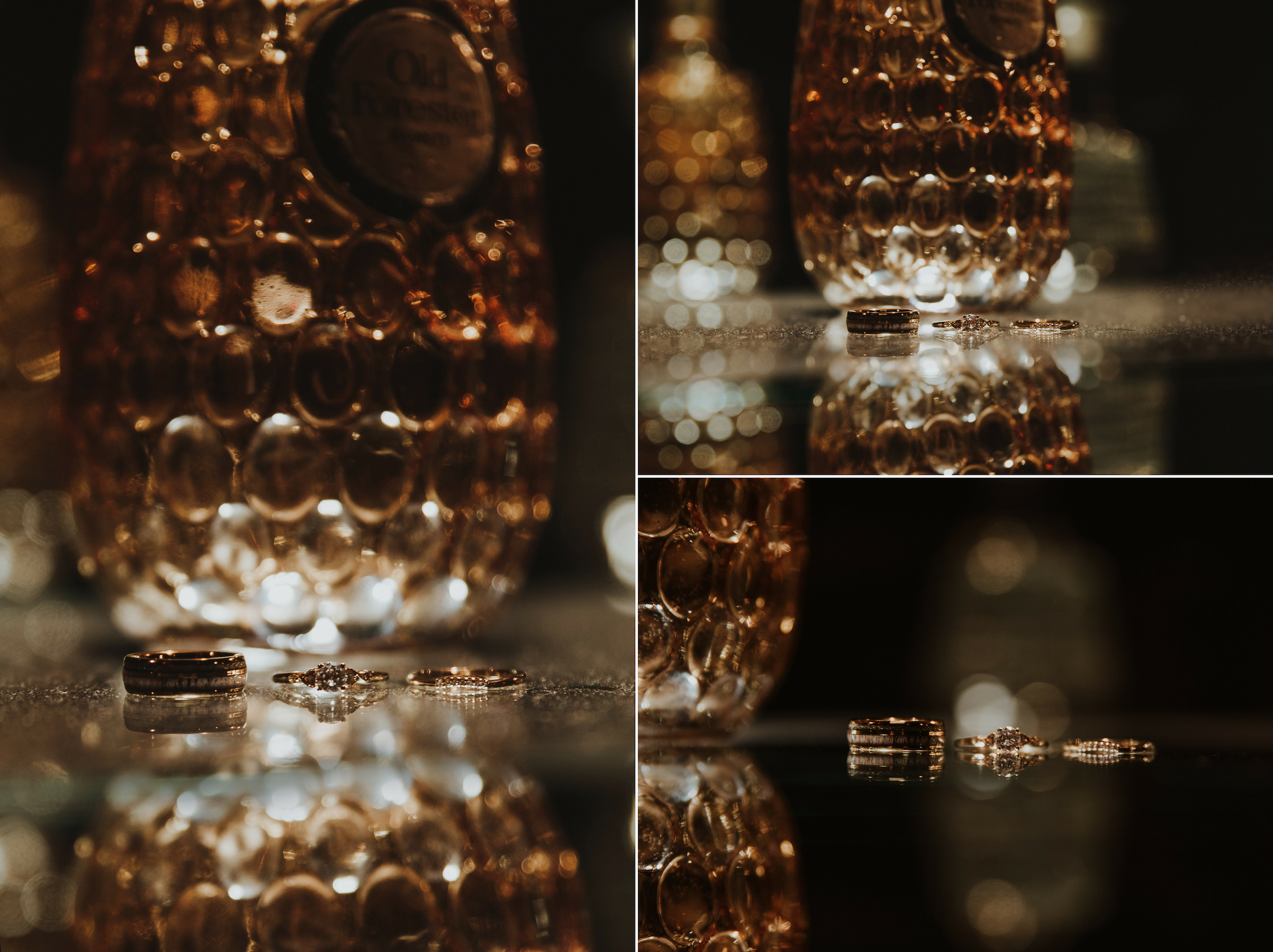 Bourbon bottle wedding ring details