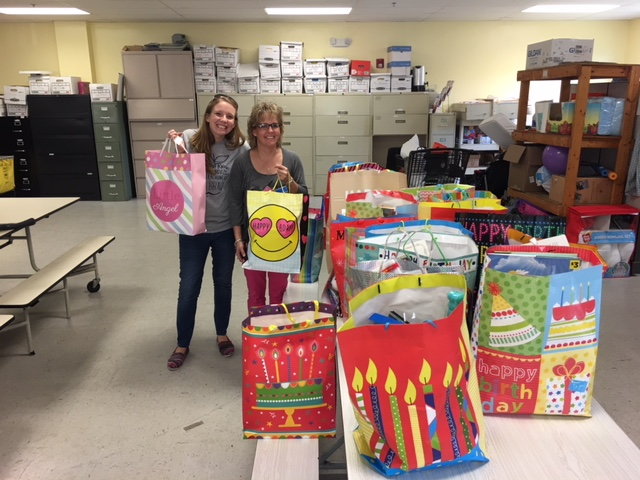 Second grade teachers Liz and Jill, brought 26 beautiful birthday bags for our children residents. They recruited help from their school, Stafford Elementary School and received donations so each bag is like a birthday party. They have hats, treats decorations, presents and even giveaways. Thank you so much for helping our children enjoy their special day!!!