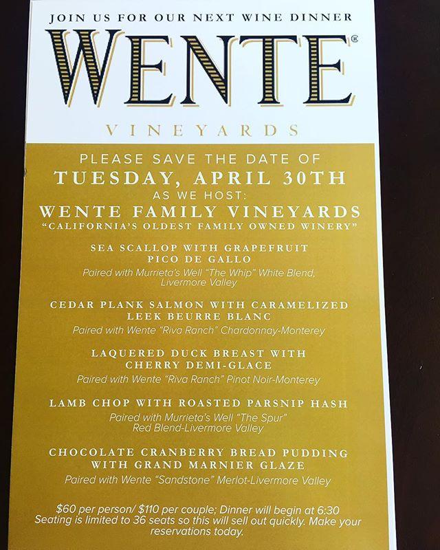 April 30th, save the date!  #GSO #NC #chef #foodie #food #restaurantlife #serverlife #local #upgrade #server #NorthCarolina #Wente @Wente #limitedseating #wine #winelife