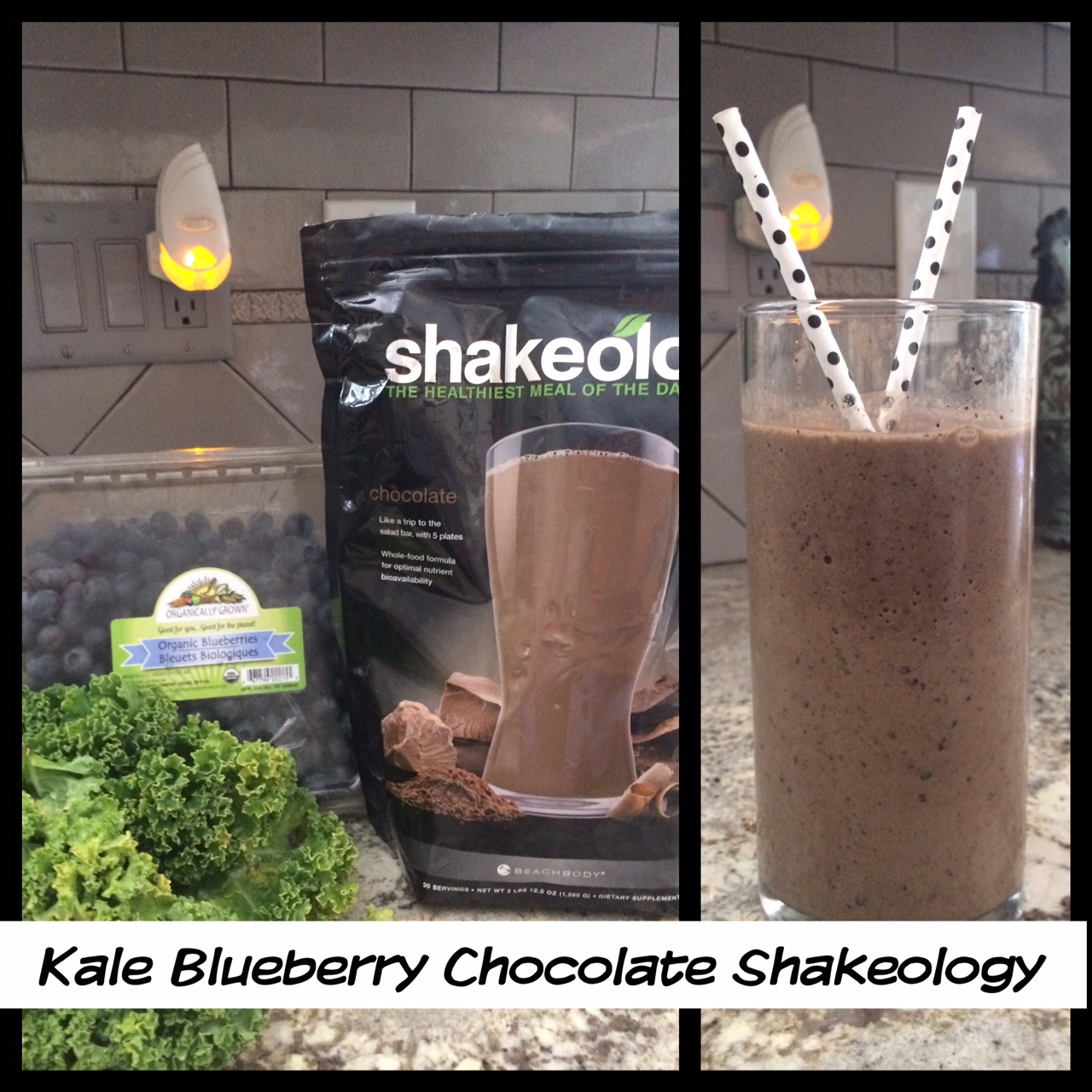 The Kale gave it that dense consistency, blueberries - my favorite and of course, Chocolate Shakeoloy - yum.