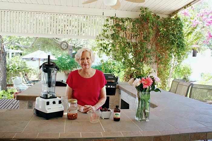 My momma - Kathleen Waite - getting ready to make Almond Milk - isn't she cute?