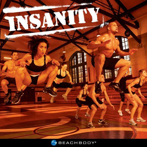 Insanity - with Shaun T - was the first challenge - yes, those are high knee jumps - Honestly I don't get that high.