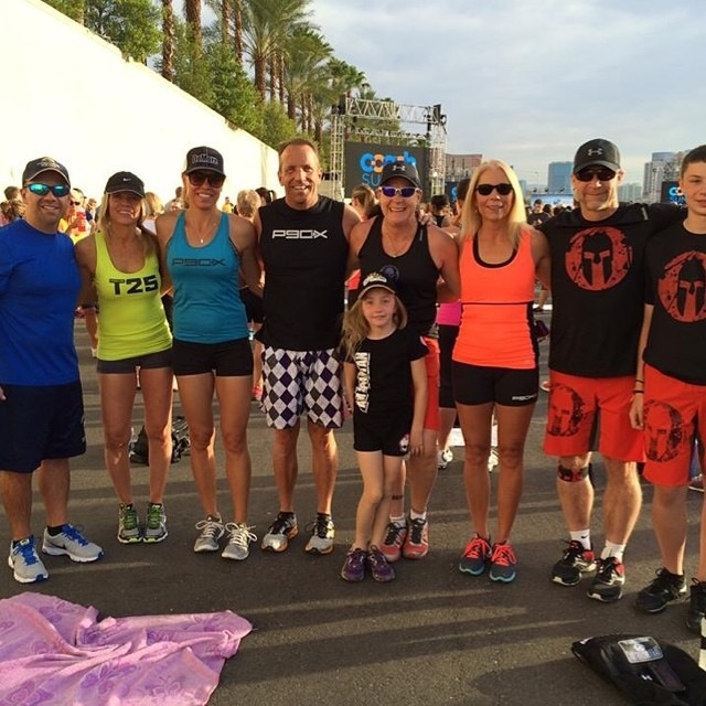 My team - we are getting ready to work out with Shaun T., Tony Horton, Chalene Johnson at Summit 2014 Las Vegas