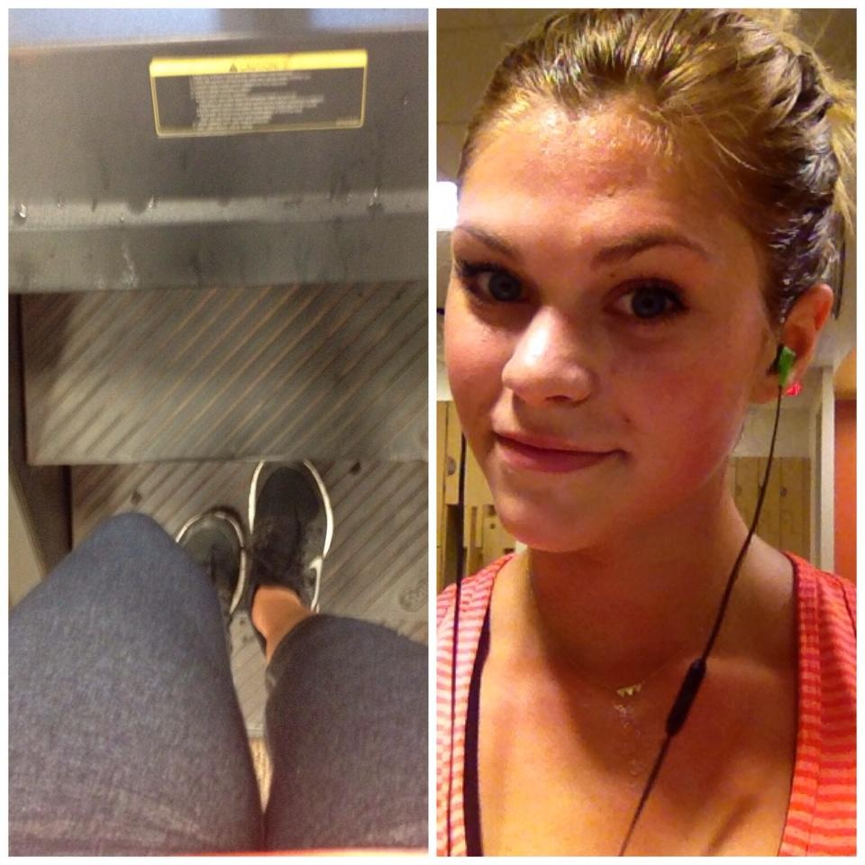 Ella working hard on the treadmill - HIIT training - busting it out quick - then bringing heart rate back down. I'm sorry but she looks very pretty when she works out!