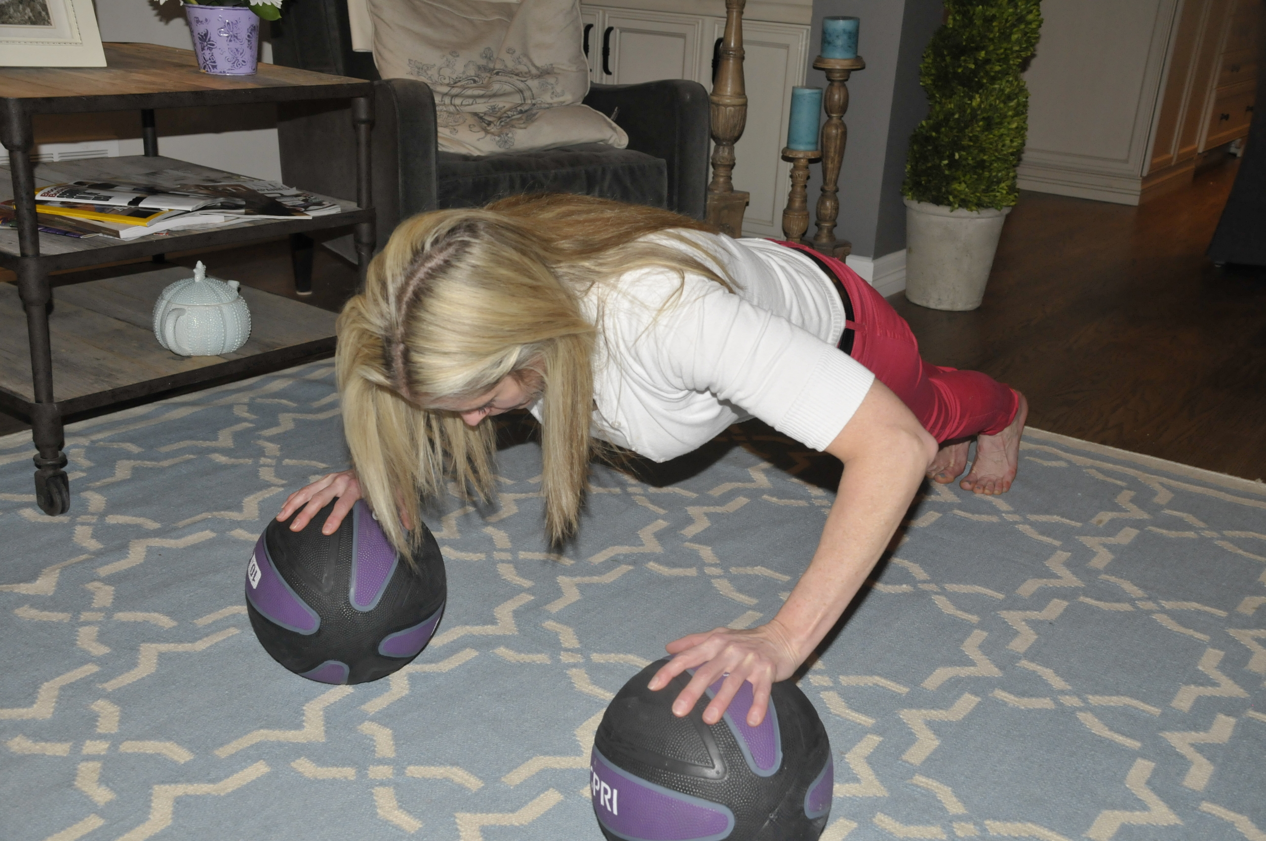 P90X2 - push ups on the balls - yes this was so hard!