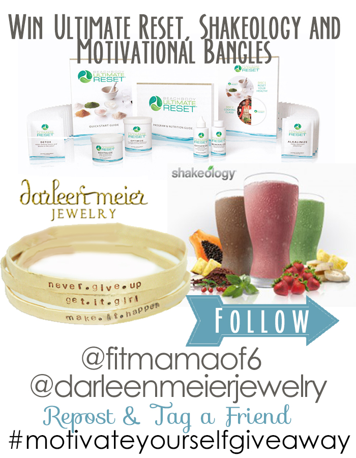 Here is our give away - Ultimate Reset, Shakeology, and hand -forged and hand stamped , 14 ct. gold filled bangle bracelets - with motivational phrases.