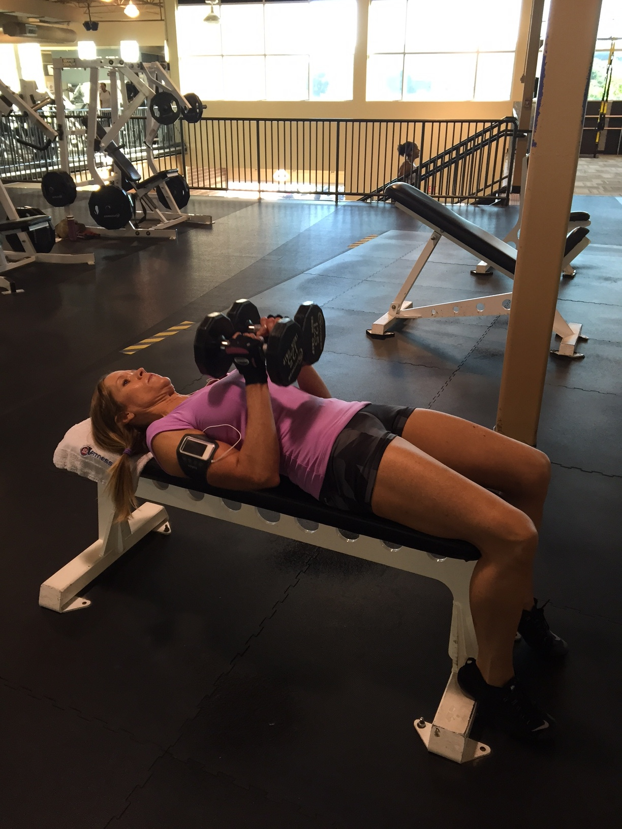 Beginning position for a chest push press.