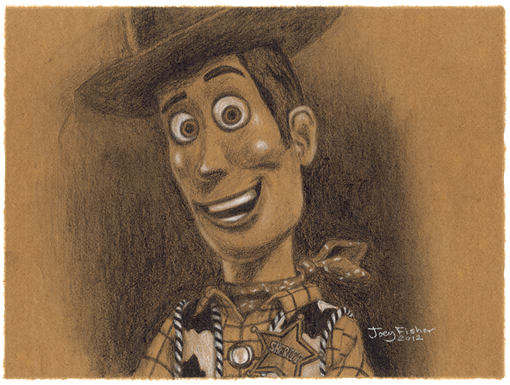 Toy Story Woody - Charcoal on Brown Paper