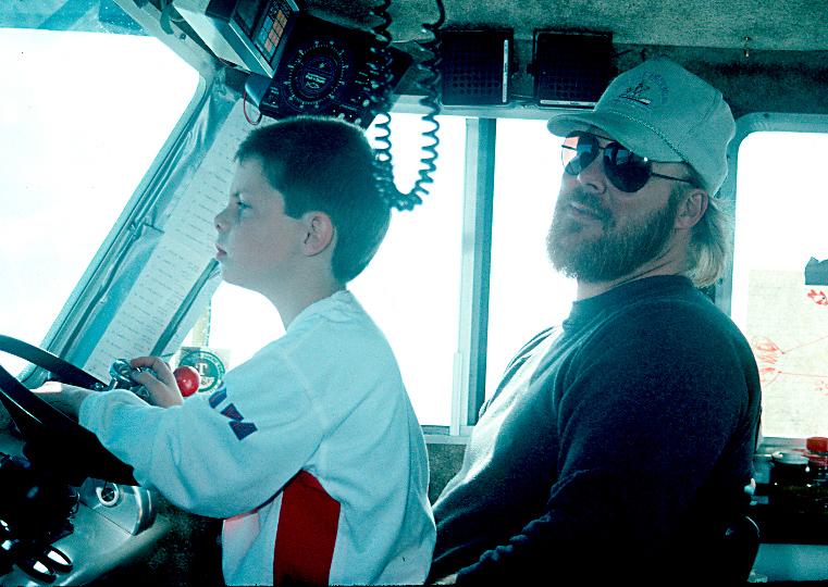 Pat and Kessler on Pats boat Veronika K