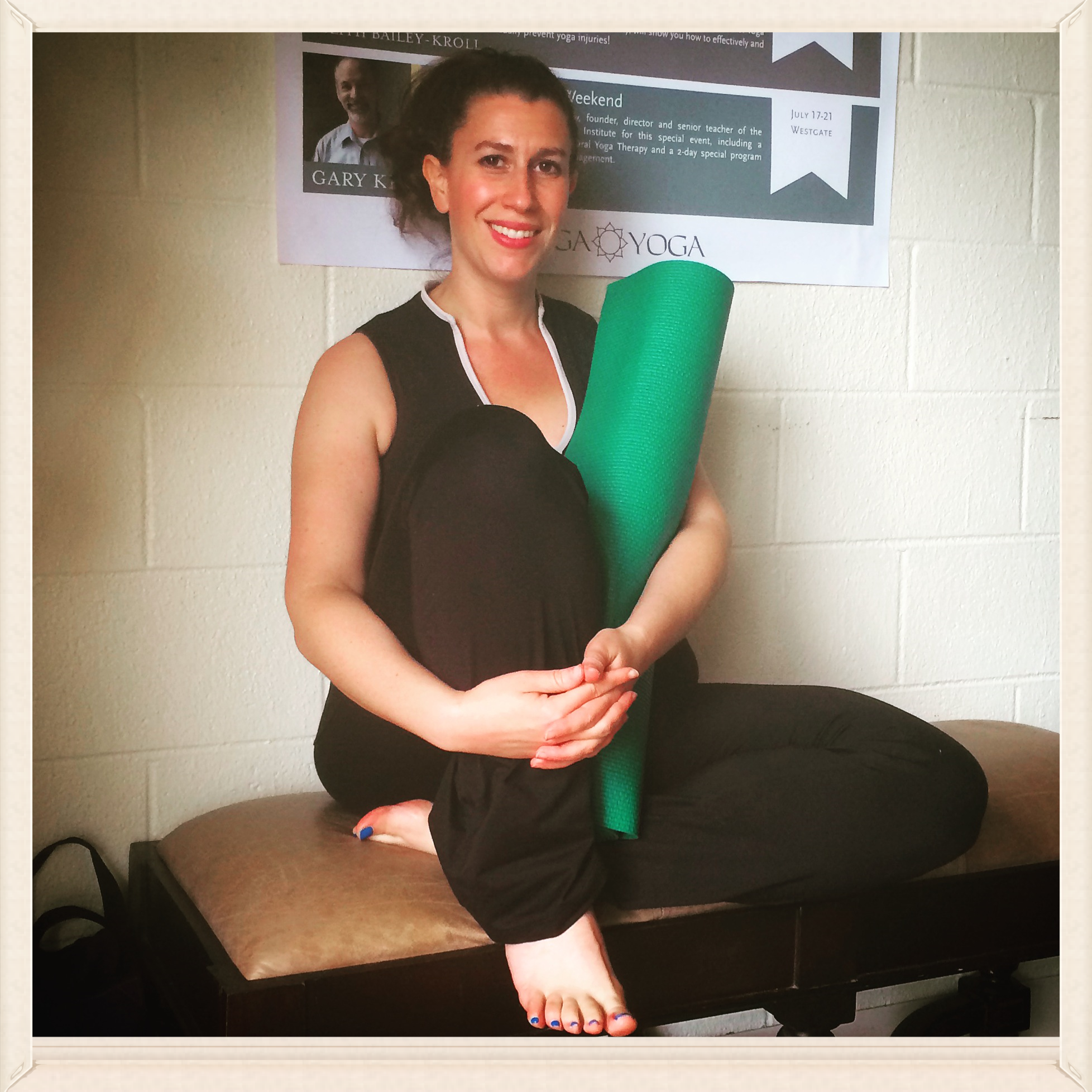 Shanna before class at a favorite local yoga studio, prepping to get her zen on!